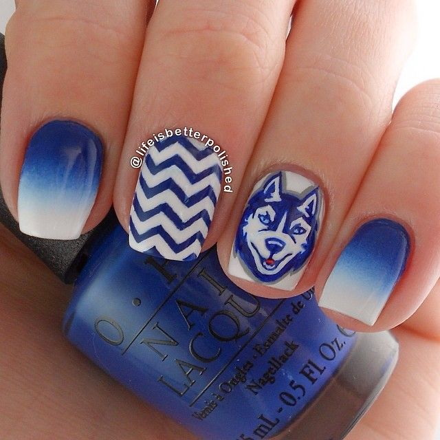 lifeisbetterpolished uconn huskies #nail #nails #nailart. My home CT...I need this like now!