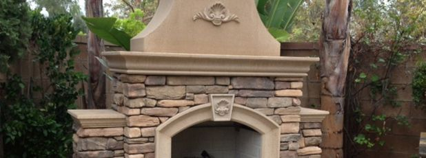 Concrete Outdoor Fireplace Kit   Precast Concrete - Pacific Stone Design®