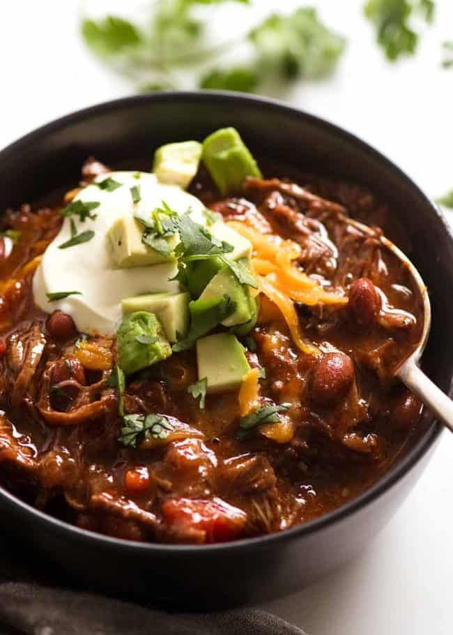 Slow Cooker Shredded Beef Chili Recipe Shredded Beef Chili Shredded Beef Con Carne Recipe