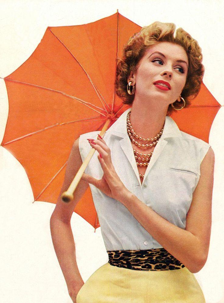 Suzy Parker in summer fashion, 1950s.