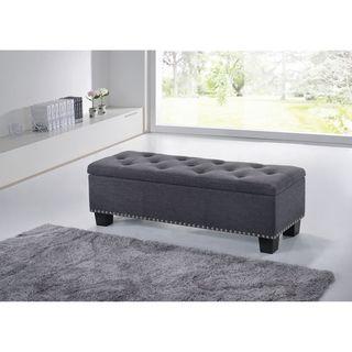 Trend Baxton Studio Alekto Modern and Contemporary Dark Grey Fabric Upholstered Button Tufting Storage Ottoman Bench