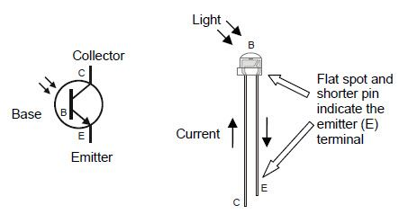 Phototransistor schematic symbol, and part drawing