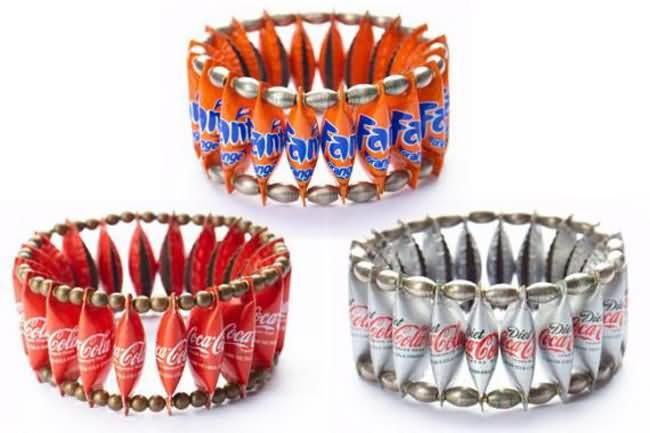 Beautiful pieces of flamboyant rings, earrings, brooches, pendants, bracelets, and necklaces created from discarded caps from beer and soft drinks bottles.