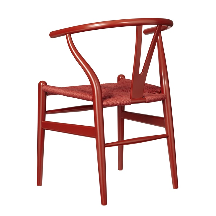 Red Wishbone Chair by Hans J. Wegner, 1949. Produced by Carl Hansen & Sons