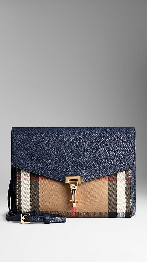 03c2f07b8ec0 Burberry - Midnight blue Small Leather and House Check Crossbody Bag   Burberryhandbags