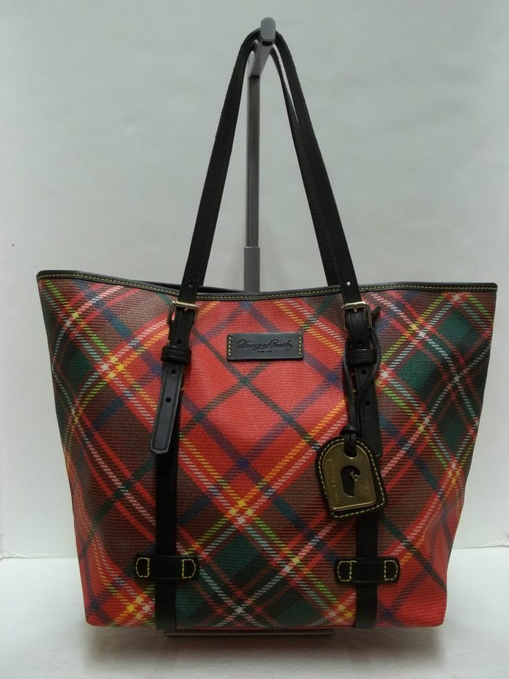 Dooney Amp Bourke Red Tartan Plaid East West Shoppers Tote