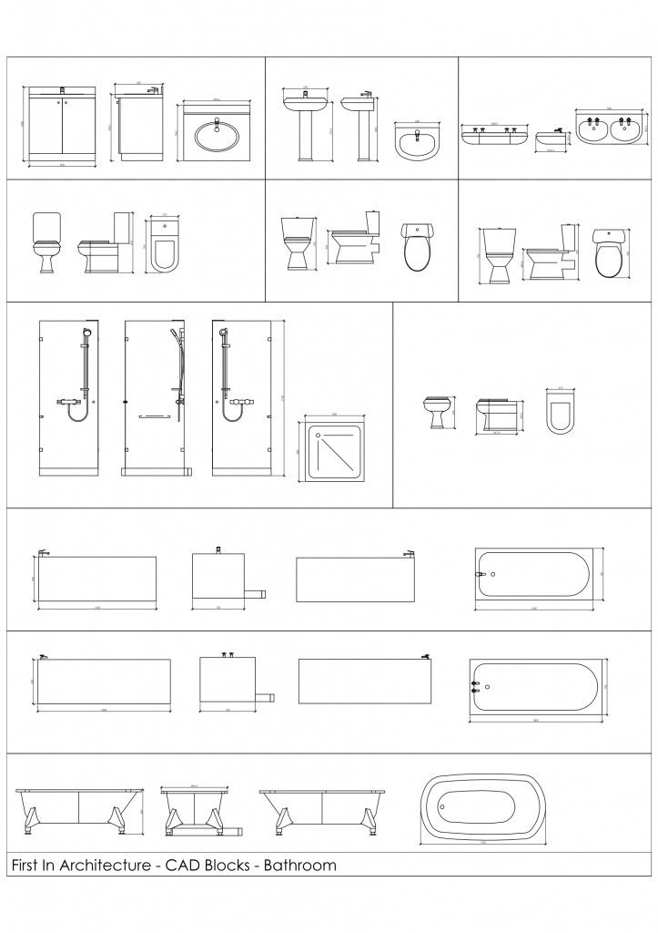 Free Cad Blocks - from First In Architecture. Bathrooms