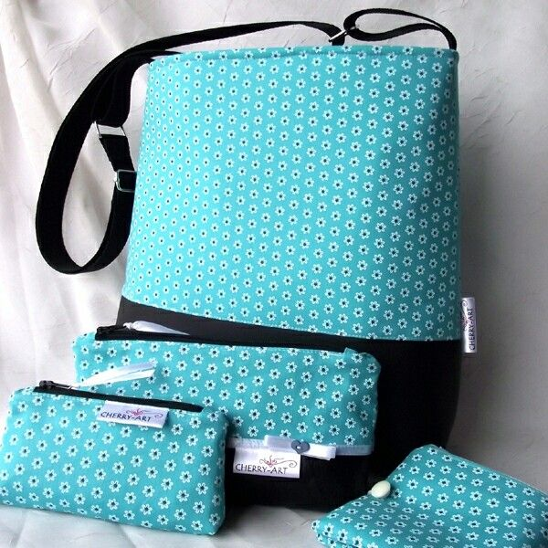 Blue flowers bag set - case, purse, mobil case
