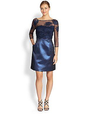 Kay Unger Metallic Mixed-Media Cocktail Dress