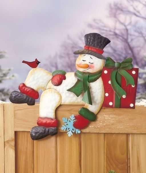 Snowman Fence Topper Holiday Xmas Winter Seasonal Yard ART Lawn Outside Home NEW #SnowmanFences