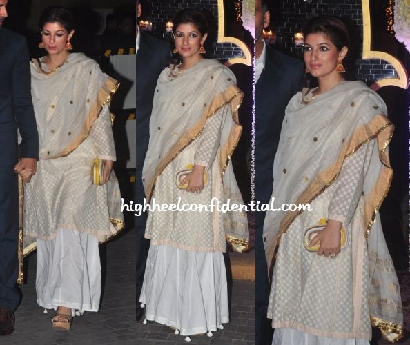 While most others sported ott Manish Malhotra designs, Twinkle was a picture of restrained elegance at the recent event held in Mumbai. Gorgeous earrings, a Bottega Veneta clutch and metallic wedges finished out her look. We love! Twinkle Khanna At Riddhi-Tejas Wedding Reception Photo Credit: Viral Bhayani More guilt readingScreening StyleIn Anita DongreSari StyleTravel(v)ogue