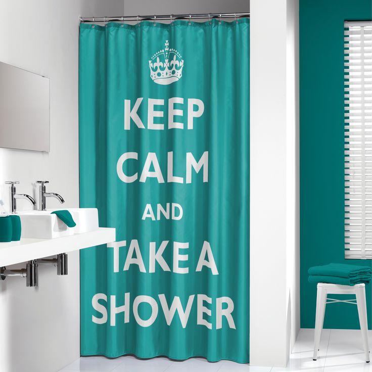 """Dit douchegordijn met de opdruk """"keep calm and take a shower"""" is een echte eyecatcher in een moderne badkamer. Dit douchegordijn samen met bijpassende accessoires en douchestang maakt uw badkamer een plaatje."""