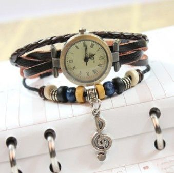 younger female watch,new classic quartz watch notes woven. I wouldn't like the music note but the rest is cute :)