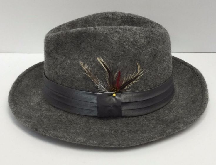 Fedora Heather Gray St Patrick Men's Dress Hat 100% Wool Hatband with Feather…