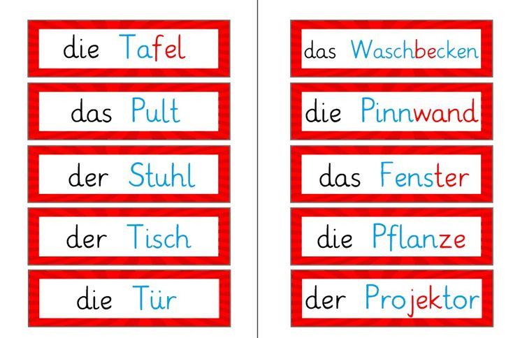 Nach Anregung durch Kommentare habe ich die Wortkarten noch mit Begleiter und in Silbenschrift erstellt. Wortkarten Klassenzimmer Silben...