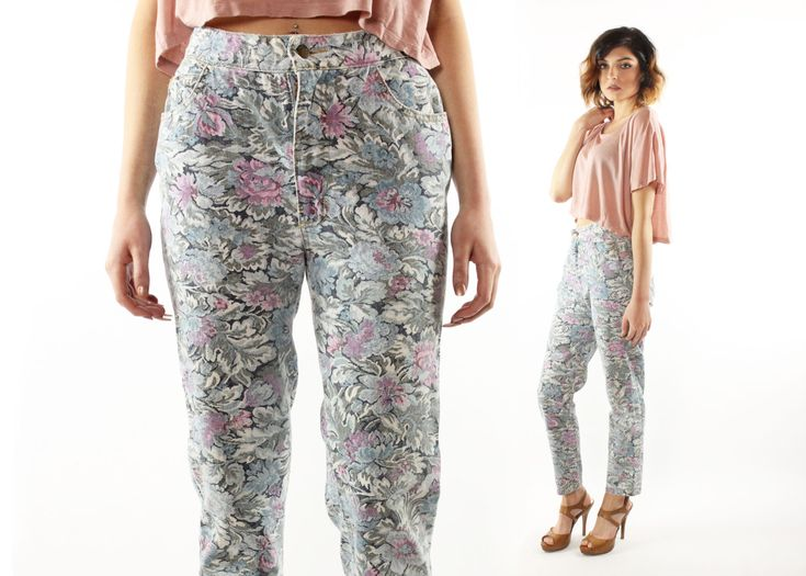 $42, Vintage 80's High Waisted Jeans Floral Denim Tapered Crop Legs 1980s Size Medium Paris Blues Trousers Skinny by ScarletFury on Etsy