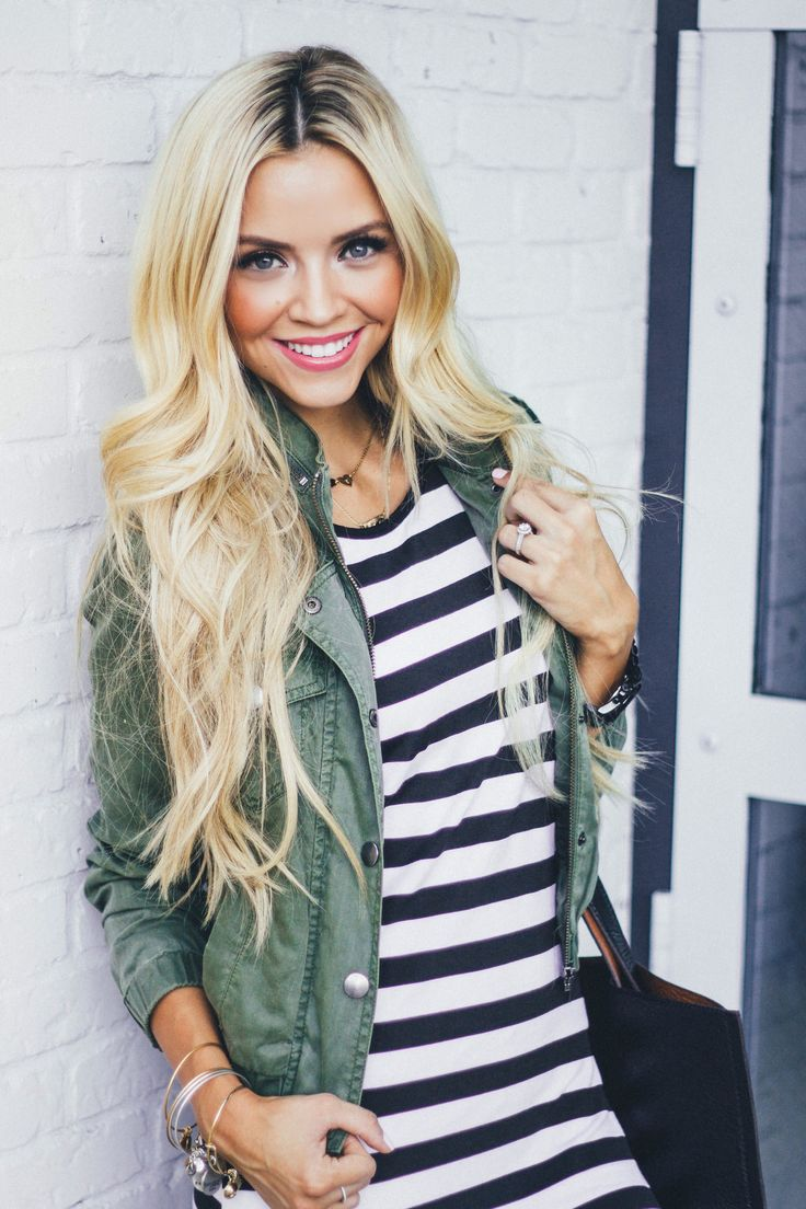 Casual look | Striped dress and khaki vest: