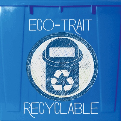 The Recyclable Eco-Trait applies our eco-friendly products that are able to be restructured, refurbished and/or reconstituted into post consumer recycled materials. For example, the glass water bottle you recycle can be melted down and restructured into other glass materials such as cups or earrings.