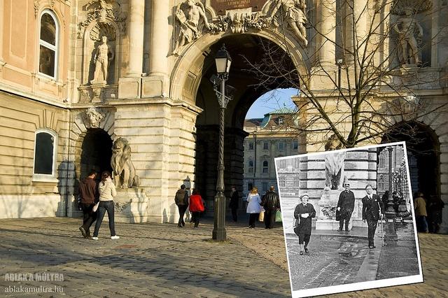 Budapest, I. Vár, Hunyadi udvar, Oroszlános kapu, háttérben a Nagy udvar fortepan_9536 by mrsultan, via Flickr