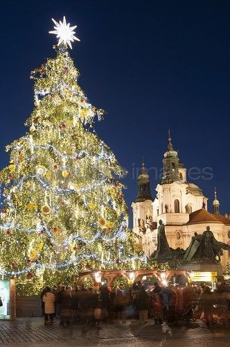 Old Town Square Christmas Market with Christmas Tree, Jan Hus Monument and Baroque Church of St. Nicholas at twilight, Old Town, UNESCO World Heritage Site, Prague, Czech Republic, Europe