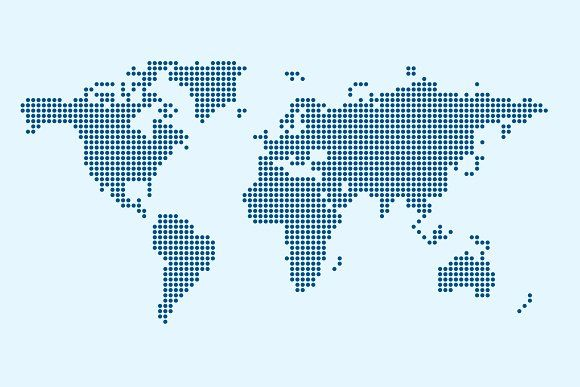 Vector of World Map in Dot Style by charnsitr on @creativemarket