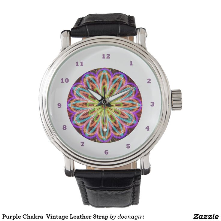 Purple Chakra  Vintage Leather Strap Wristwatches