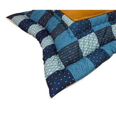 和風チェック柄こたつ布団 長方形コタツ用厚掛けふとん(掛け単品) セイメイ(清明) ブルー色 長方形105~120巾こたつ用