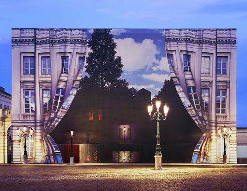 """Building facade in Brussels, covering the exterior of the new Magritte Museum before it opened. According to one of my readers, Hugo H., behind the """"curtain"""" you can see Magritte's probably most famous painting, """"Her Rijk Der Lichten"""" (The Empire of Lights)."""
