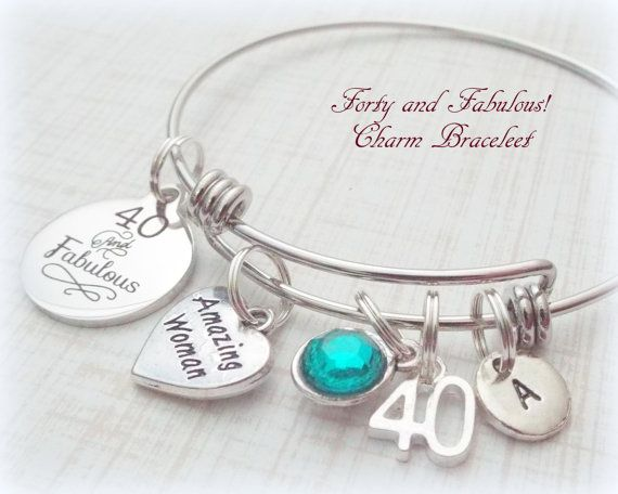 40th Birthday Gift Forty and Fabulous Happy by HopeisHipJewelry