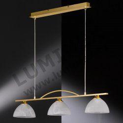 HONSEL Classica, Závěsné svítidlo HALOGEN 3xE14 mosaz, chrom, sklo