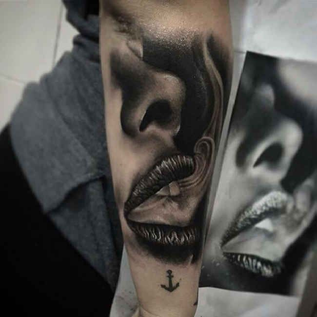 Tattoo portrait of fuming mouth - Ideas Tattoo Designs-If you want to make Tattoo portrait of fuming mouth yourself and you are looking for the suitable design or just interested in tattoo, then this site is for you.