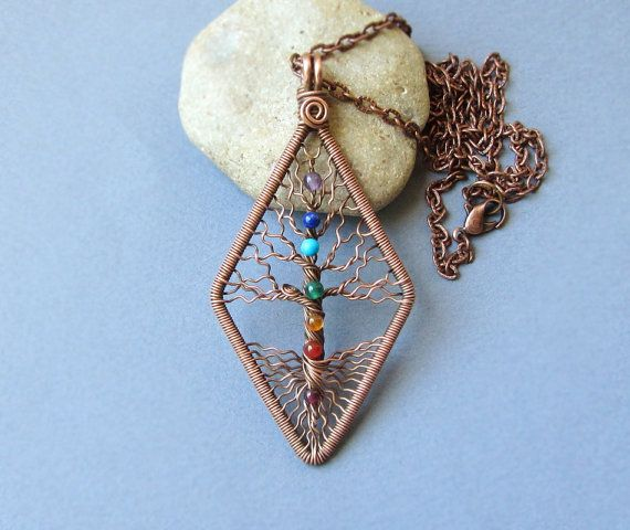 Chakra necklace Yoga pendant Tree of Life copper wire Jewelry by MagicWire