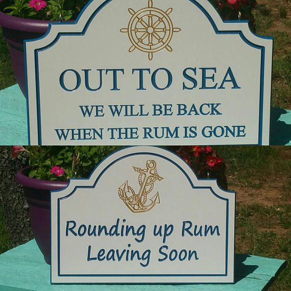 Boating Gift Nautical Dock Decor Rum Sign Double Sided Quotes