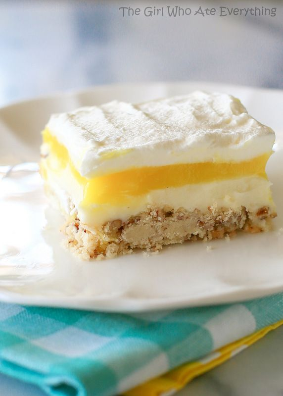 Lemon Lush - light and fresh with a shortbread crust. the-girl-who-ate-everything.com