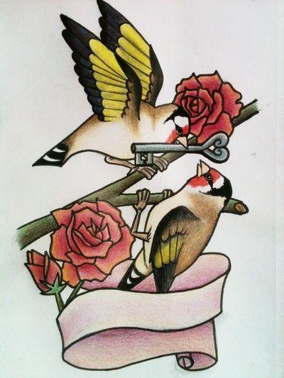 Finch tattoo design by Alyx Wilson