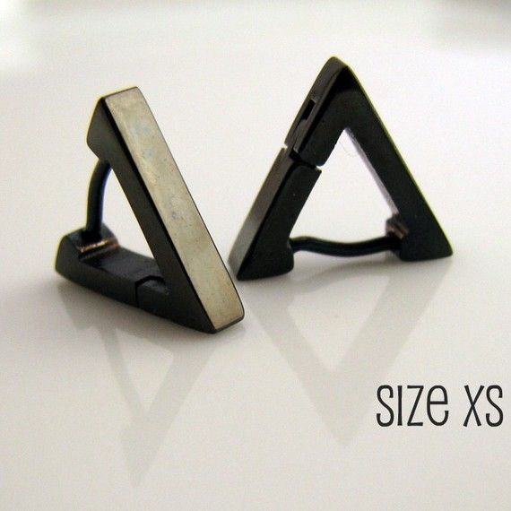 Black Triangle Huggie Hoop Earrings for Men  Ear by 360Jewels