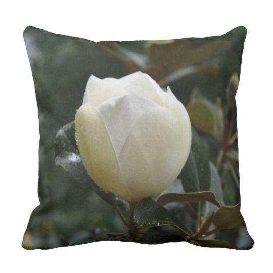 Magnolia Grandiflora Throw Pillow by www.zazzle.com/htgraphicdesigner* #zazzle #gift #giftidea #magnolia #grandiflora #throw #pillow #throwpillow #cushion #nature