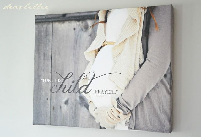 Love this idea for a canvas maternity print to hang in the nursery