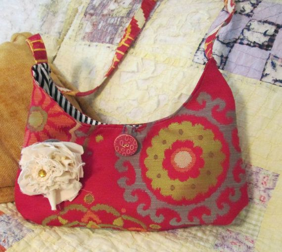 Hobo Bag Gypsy Bag Hippie Bag Bohemian Bag Red Slouch by ClemmieVs