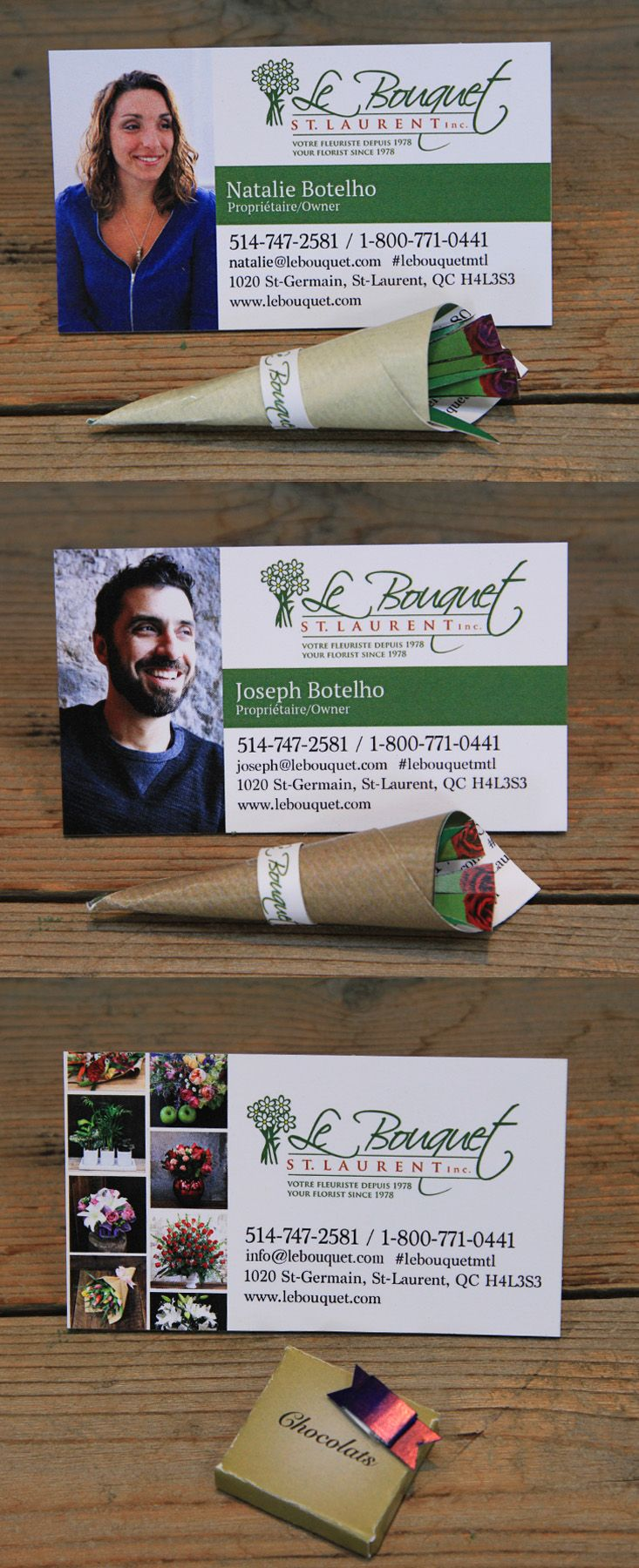Our new business cards. Each folds into a miniature bouquet or a box of our chocolates www.lebouquet.com