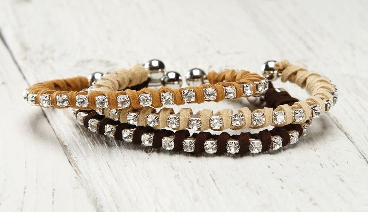 Suede-Wrapped Rhinestone Bangle Bracelet