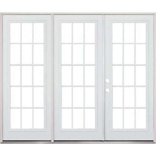 8 39 0 wide 15 lite steel patio triple door french unit for Wide french doors