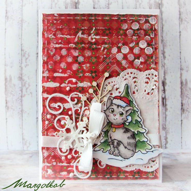 Vánoční přáníčko s kočičkou a stroměčkem. margotkab