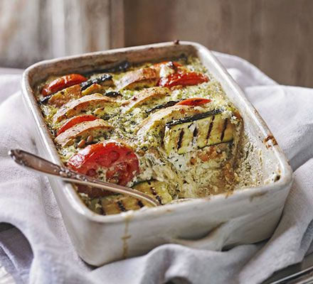 Packed with the flavours of courgette, cheese and tomatoes, this easy-to-prepare veggie bake will make a comforting dinner all year round