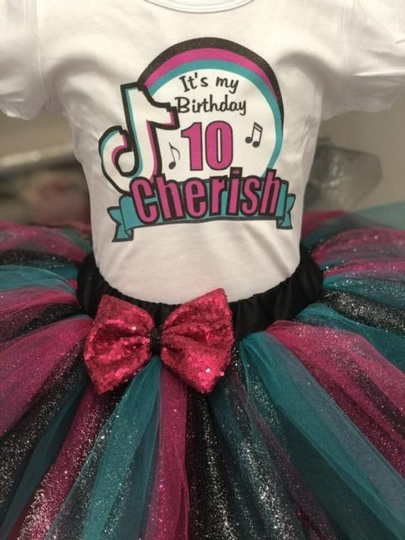 Tik Tok Birthday Tutu Outfit Tik Tok Party Dress Tik Tok Shirt Any Color Theme Tutu Outfits Birthday Tutu Outfit Birthday Party Outfits