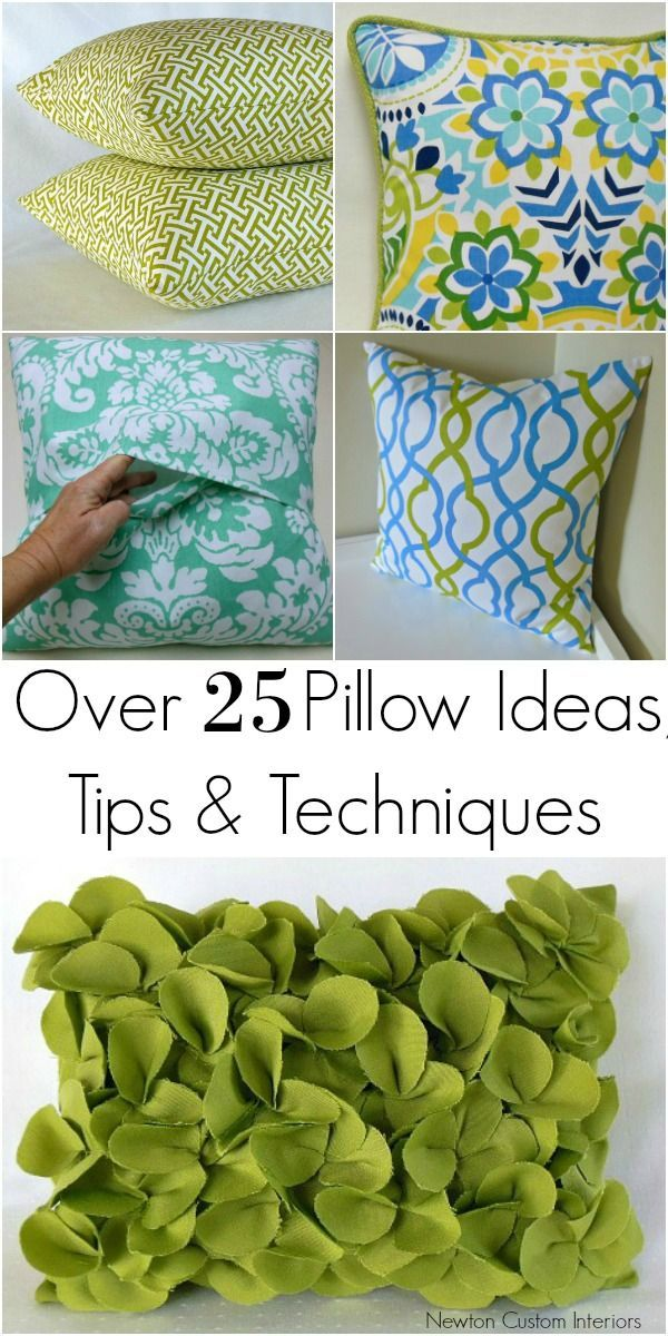 DIY pillows are a fun sewing project and an easy way to change the look of your room.  Learn over 25 pillow ideas, tips and techniques for how to make pillows.
