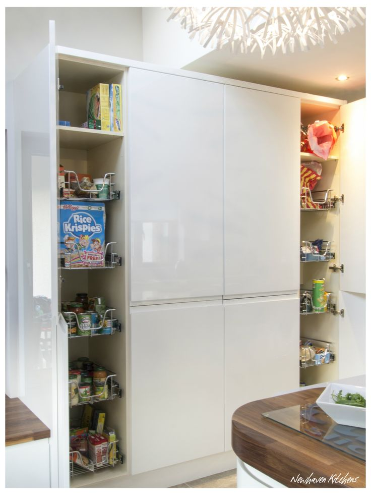 Pantries with pullout baskets in a modern white gloss kitchen