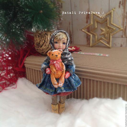Коллекционные куклы ручной работы. Ярмарка Мастеров - ручная работа. Купить Ватная елочная игрушка Девочка с мишкой. Handmade. Комбинированный