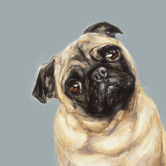Tan Pug Art  print - signed  Ltd. Ed Collectable No.15. £47.00, via Etsy.