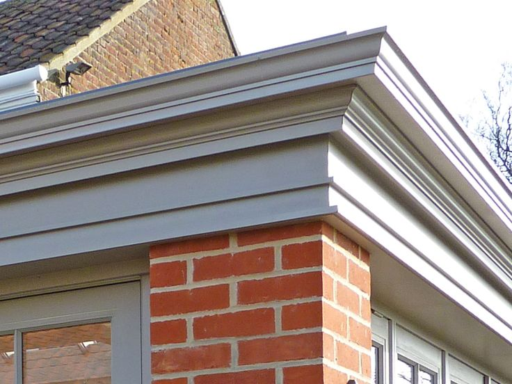 Get the orangery look using a perimeter edge fascia with guttering. Shown here is 'The Cavendish' orangery fascia corner joint. Substantial in its architectural detailing with a marked projection.